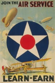 Vintage World War Poster Join the Air Service Learn - Earn.
